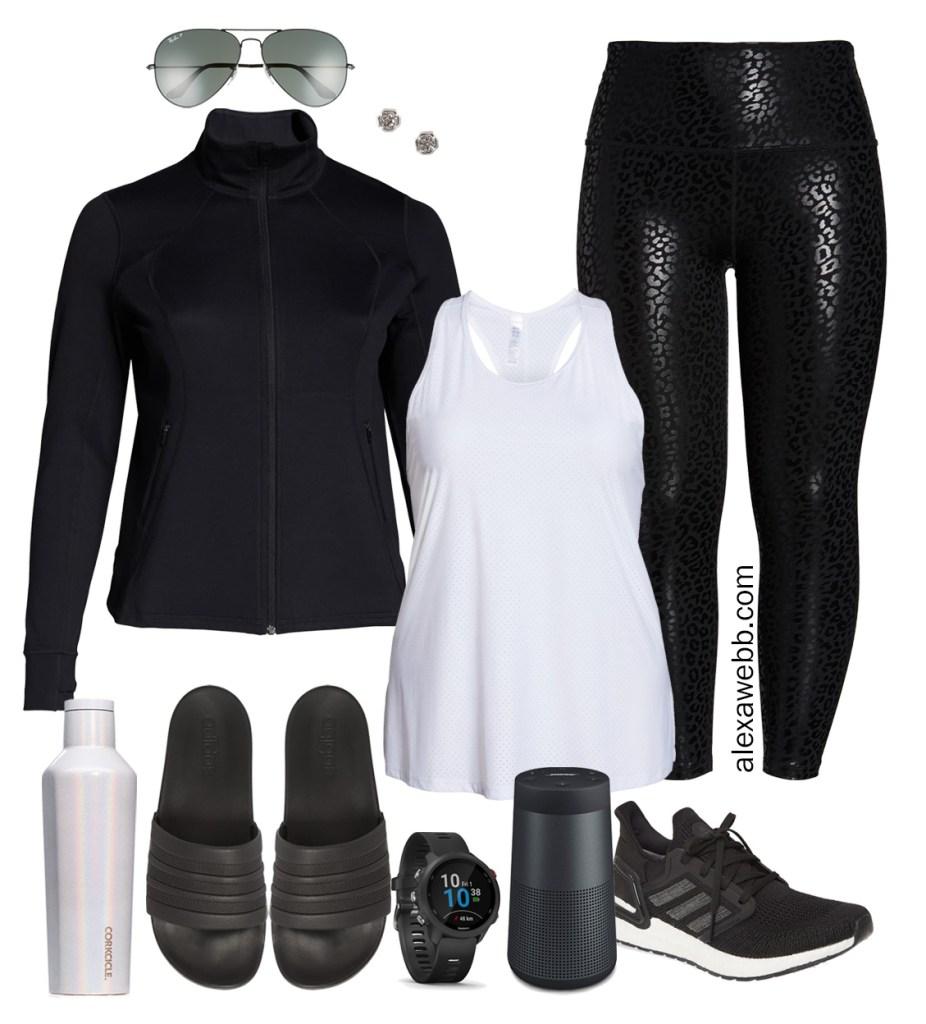 Plus Size Black Loungewear Athleisure Outfit with black leopard leggings and a track jacket. Alexa Webb #Plussize #alexawebb