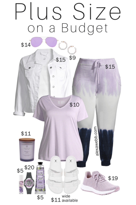 Plus Size on a Budget - Stay Home Outfit - Plus Size Sweatpants, T-Shirt, and White Denim Jacket with Sandals or Sneakers - Loungewear - Alexa Webb #plussize #alexawebb