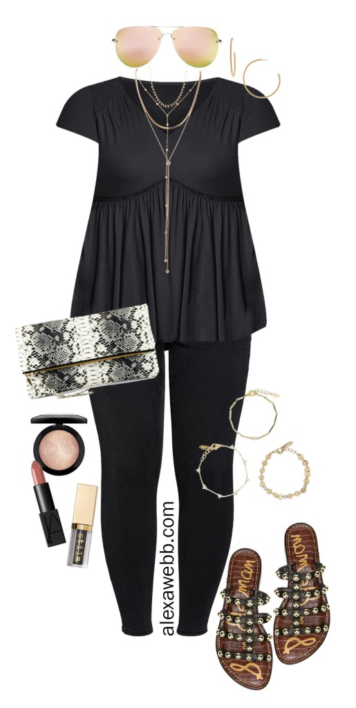 Plus Size Night Out Outfit Idea - Black top and black jeans with sandals - Alexa Webb #Plussize #Alexawebb
