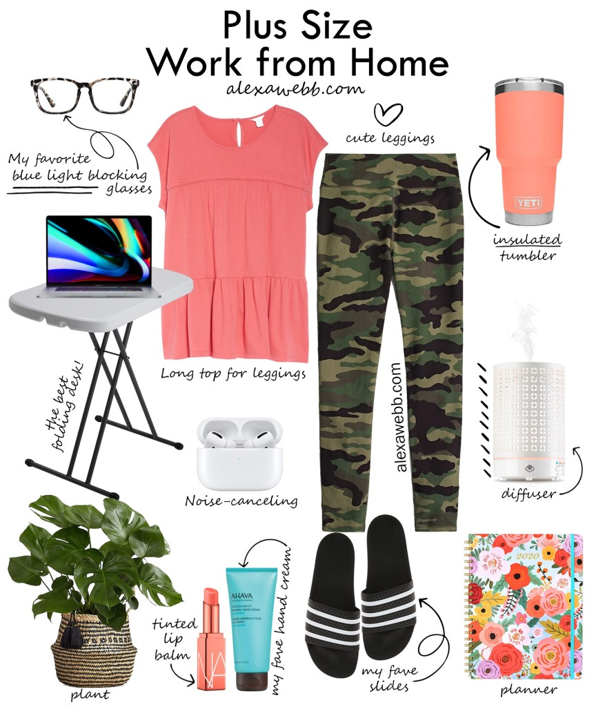 Plus Size Work from Home Ideas with camo leggings, coral top, blue light blocking glasses, and more work essentials. Alexa Webb #plussize #alexawebb