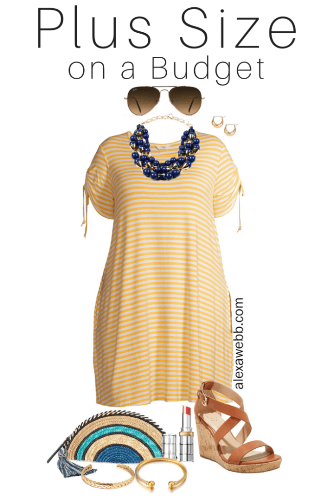 Plus Size on a Budget - Yellow Stripe Dress Outfits - Navy Statement Necklace, Wedge Sandals, and Straw Clutch - Alexa Webb #plussize #alexawebb
