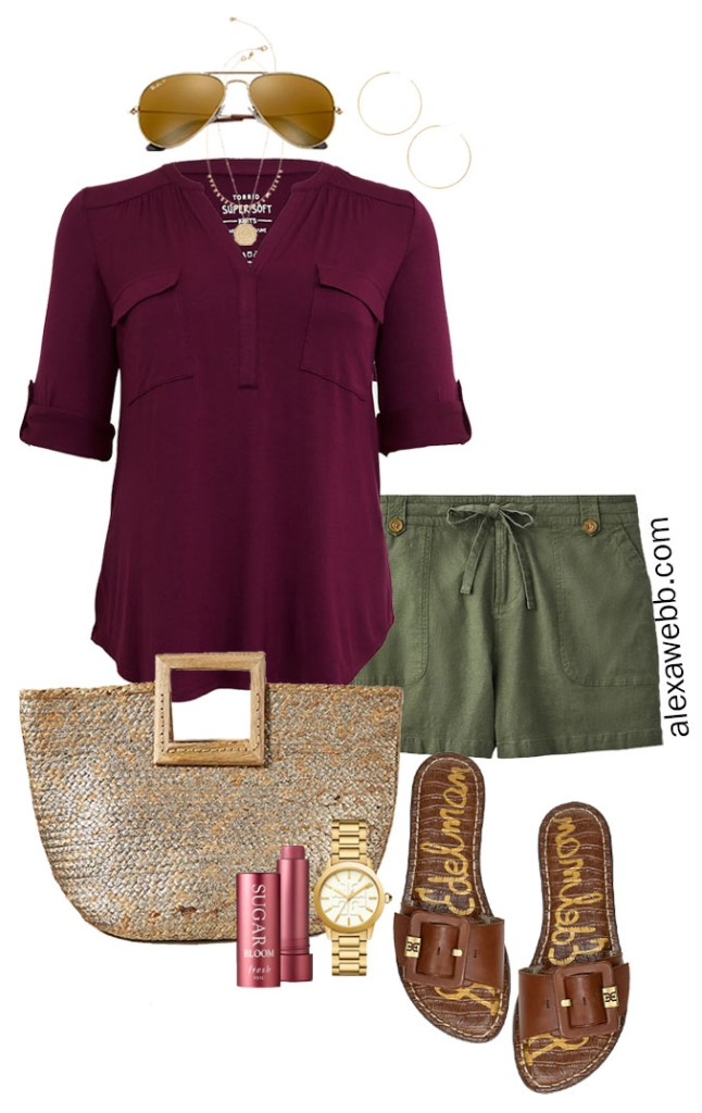 Plus Size Khaki Green Linen Shorts Outfit with Plum Top, Straw Tote Bag, and Sandals - Alexa Webb #Plussize #Alexawebb