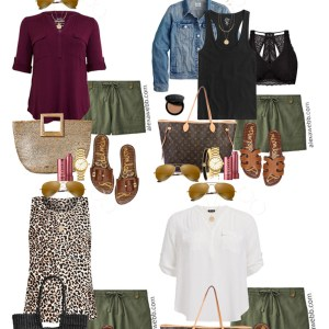 Plus Size Khaki Shorts Outfits with Green Linen Shorts - Plus Size Summer Outfit Ideas - Alexa Webb #plussize #alexawebb