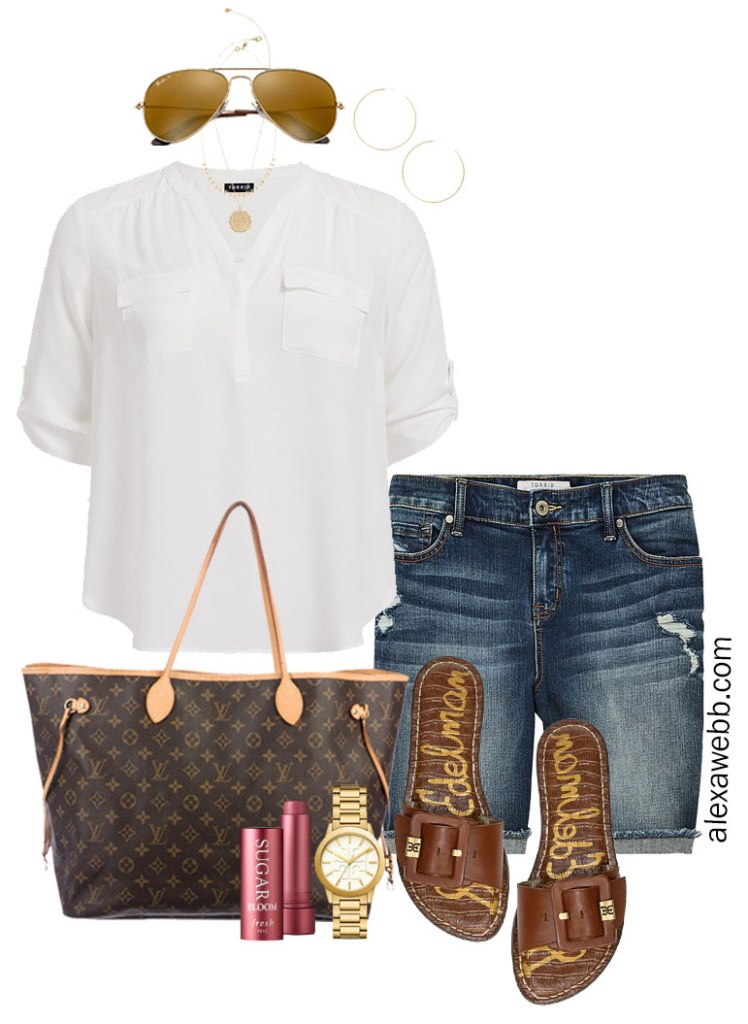 Plus Size Denim Shorts Outfit with White Blouse, Louis Vuitton Neverull Tote Bag, and Sandals - Alexa Webb #Plussize #Alexawebb