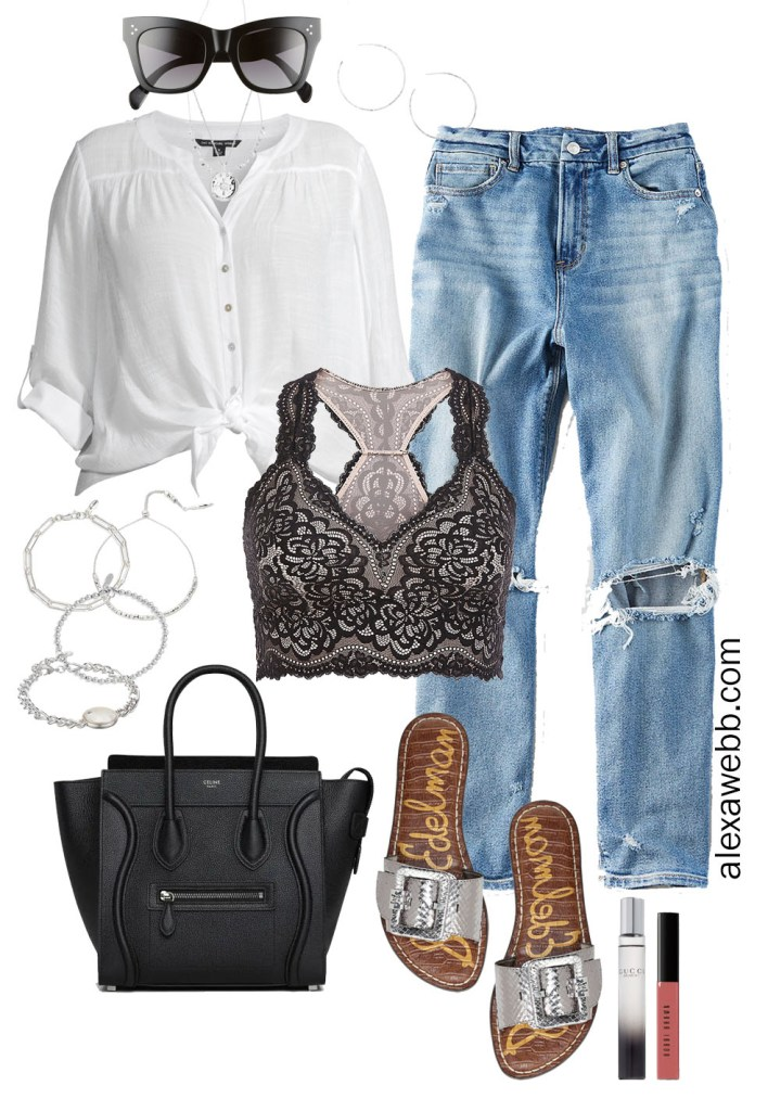 Plus Size Mom Jeans Outfit with Celine Tote, Slide Sandals, and Silver Jewelry - Alexa Webb #plussize #alexawebb