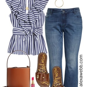 Plus Size Halogen x Atlantic-Pacific Outfit Ideas with Navy and White Striped Top, Cropped Straight Jeans, Slide Sandals, and Staud Bucket Bag - Alexa Webb #plussize #alexawebb