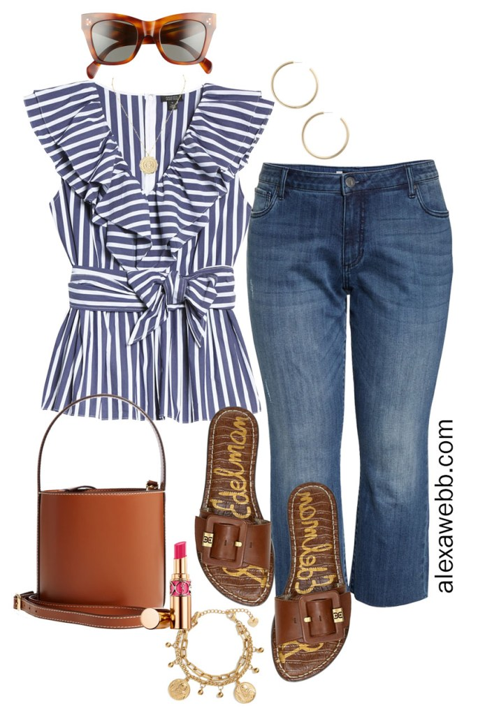 Plus Size Halogen x Atlantic-Pacific Outfit Ideas with Navy and White Striped Top, Cropped Kick Flare Jeans, Slide Sandals, and Staud Bucket Bag - Alexa Webb #plussize #alexawebb