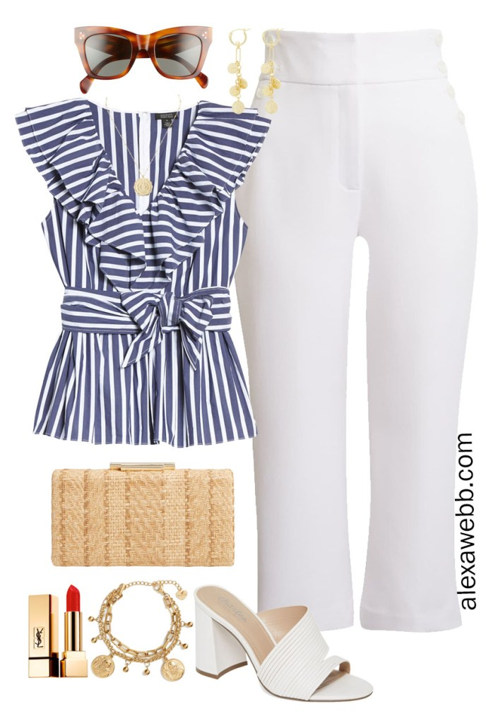 Plus Size Halogen x Atlantic-Pacific Outfit Ideas - Plus Size Statement Outfit with a Striped Navy and White Top, White Crop Pants, White Sandals, and a Chic Straw Clutch - Alexa Webb #plussize #alexawebb