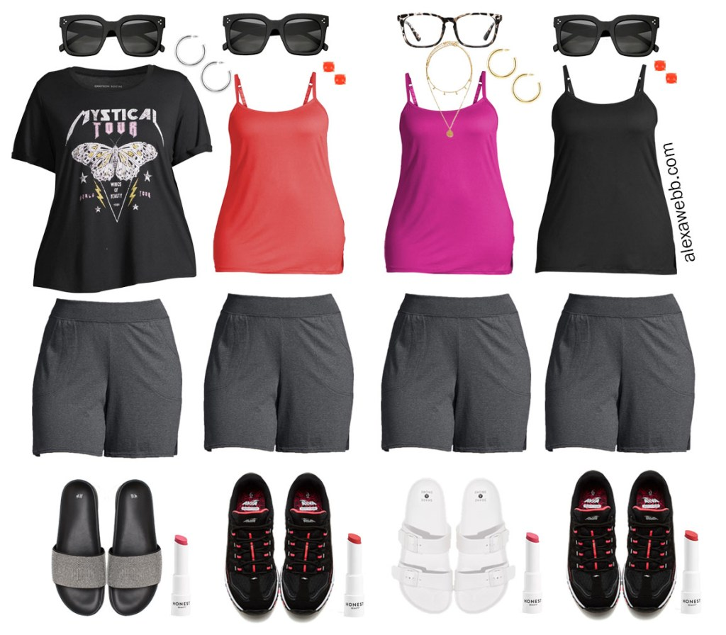 Plus Size Loungewear Capsule with Grey Knit Shorts Outfit Ideas - Alexa Webb #plussize #alexawebb
