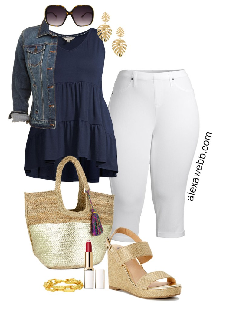 Plus Size Summer Outfits with Walmart - Plus Size Cropped White Jeans with a Navy Tiered Top and Preppy Accessories like Palm Leaf Earrings and Straw Tote Bag on a Budget - Alexa Webb #plussize #alexawebb