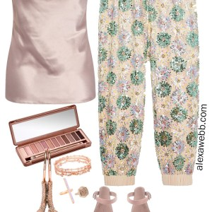 Plus Size Sequin Joggers Outfit with Satin Camisole and Suede Heeled Sandals with Rose Gold Accessories and Clutch - Alexa Webb #plussize #alexawebb