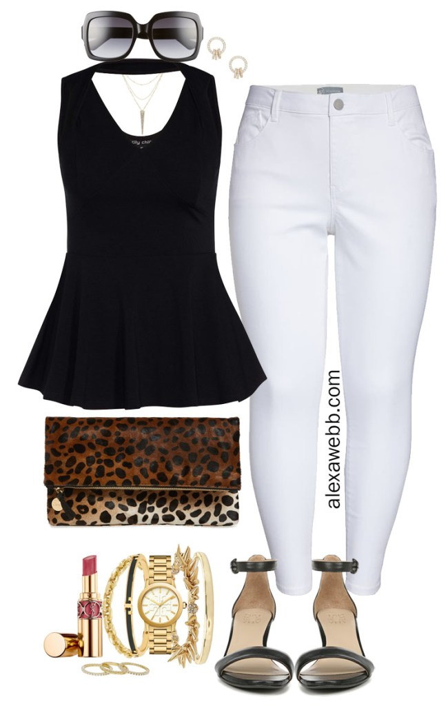 Plus Size Summer Nights Outfit with White Jeans, Black Peplum Top, Leopard Clutch, and Black Heeled Sandals - Alexa Webb #plussize #alexawebb