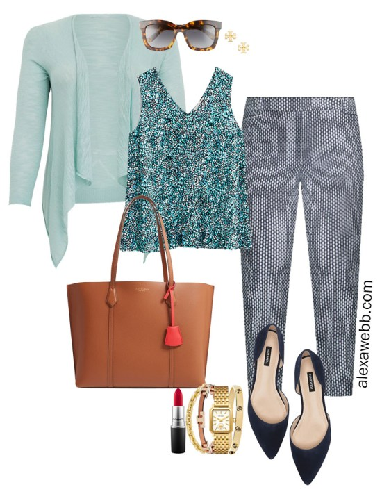 Plus Size Summer into Fall Work Outfit with Printed Top, Navy Printed Pants, Navy Flats, and Aqua Mint Blue Cardigan - Alexa Webb #plussize #alexawebb