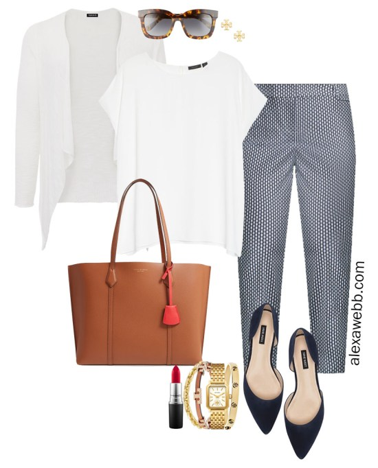 Plus Size Summer into Fall Work Outfit with White Cap Sleeve Blouse, Navy Printed Pants, Navy Flats, and White Cardigan - Alexa Webb #plussize #alexawebb