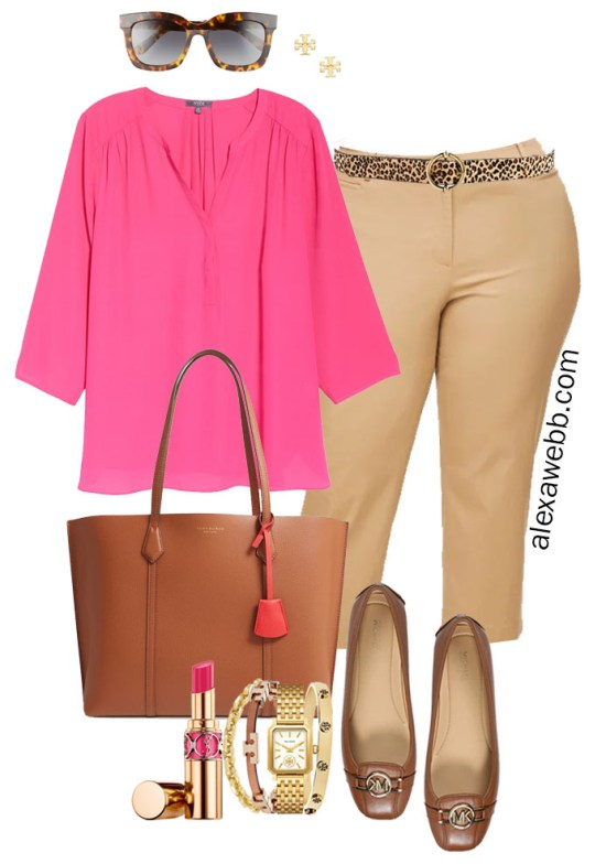 Plus Size Summer into Fall Work Outfit with Hot Pink Blouse, Tan Cropped Pants, Cognac Mocs, and Tan Tote Bag - Alexa Webb #plussize #alexawebb