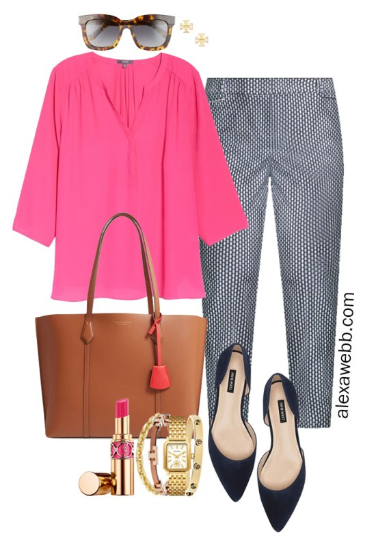 Plus Size Summer into Fall Work Outfit with Hot Pink Blouse, Navy Printed Pants, Navy Flats, and Tan Tote Bag - Alexa Webb #plussize #alexawebb