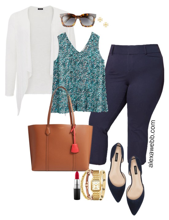 Plus Size Summer into Fall Work Outfit with Printed Top, Navy Cropped Pants, Navy Flats, and White Cardigan - Alexa Webb #plussize #alexawebb