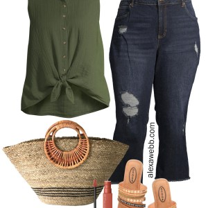 Plus Size Summer Casual Outfit with Walmart - An olive green sleeveless shirt with cropped jeans, a straw bag, and embellished sandals - Alexa Webb #plussize #alexawebb