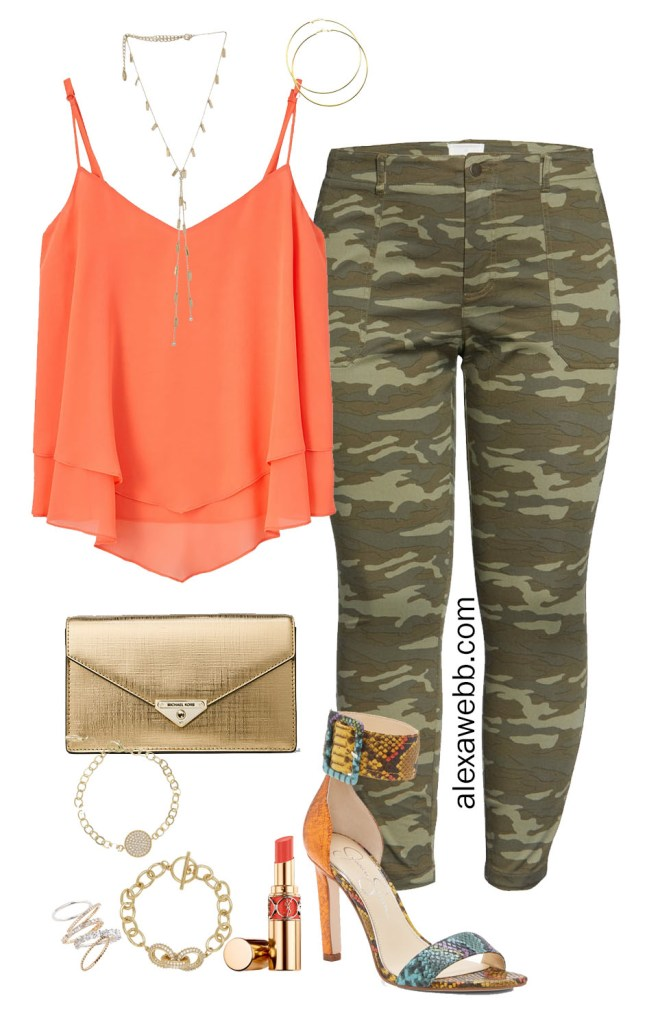 Plus Size Camo Pants Outfit Ideas - Night Out with Coral Orange Cami, Gold Clutch, and Snake Heeled Sandals - Alexa Webb #alexawebb #plussize