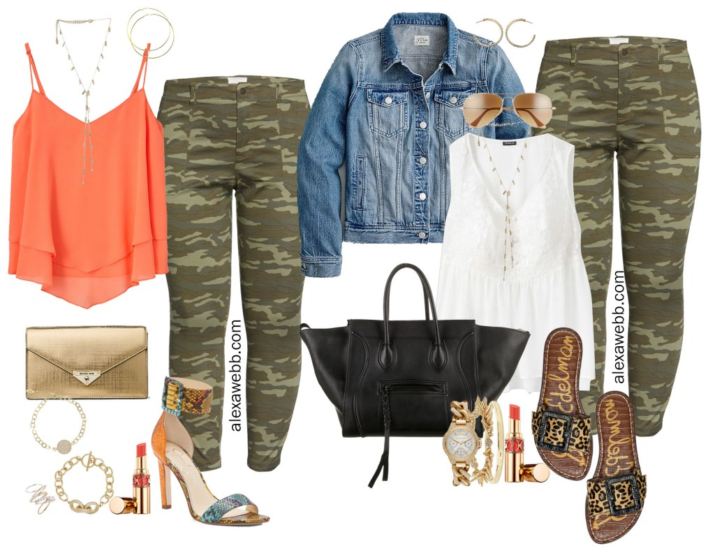 Plus Size Camo Pants Outfit Ideas - Casual for Summer into Fall - White Babydoll Top and Denim Jacket with Leopard Slide Sandals and Celine Phantom Tote - Alexa Webb #plussize #alexawebb