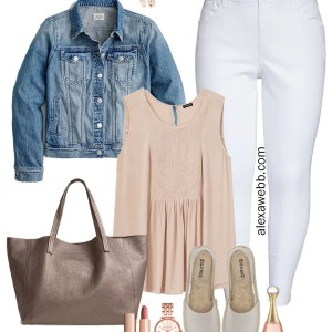 Plus Size Muted Pastel Outfit Ideas with plus size white jeans, a denim jacket, babydoll tank, espadrilles, and rose gold jewelry - Alexa Webb #plussize #alexawebb