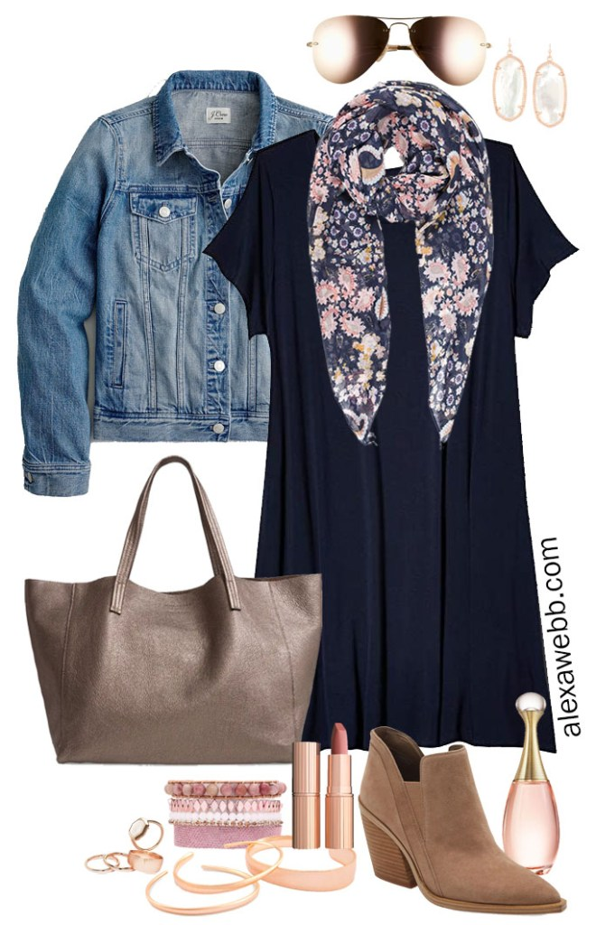 Plus Size Navy T-Shirt Dress Outfit for Fall with Floral Scarf, Slouchy Tote Bag, Ankle Booties, and Rose Gold Jewelry from Kendra Scott - Alexa Webb #plussize #alexawebb