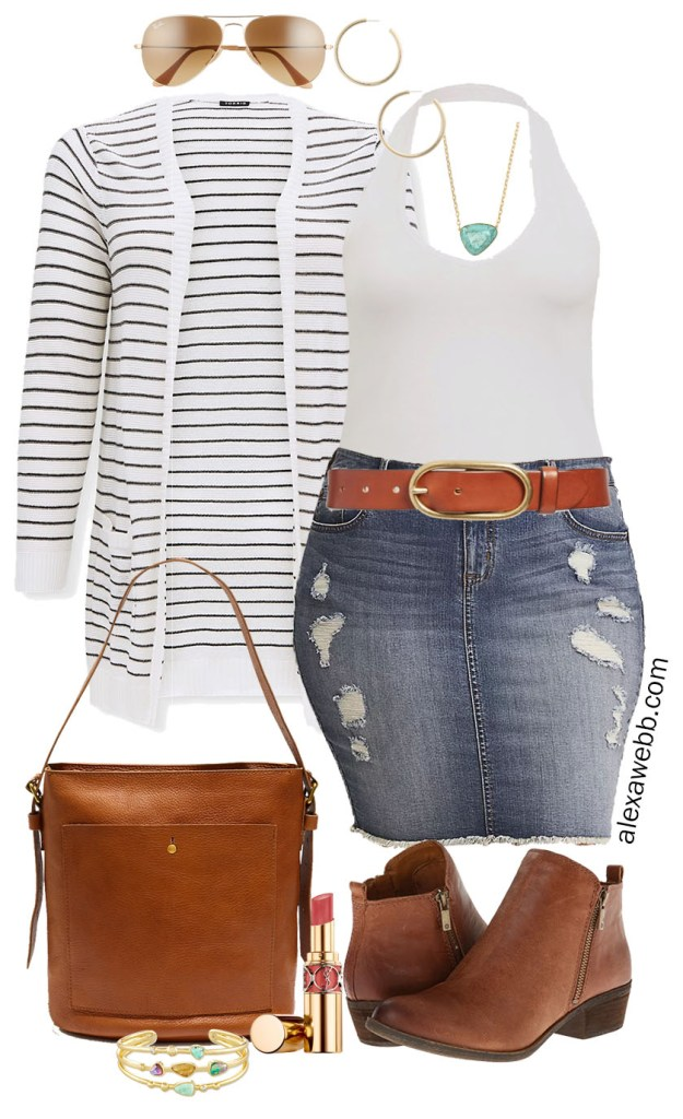 Plus Size Stripe Cardigan Outfit for Summer into Fall with a distressed denim skirt, white halter top, bucket bag, and ankle booties - Alexa Webb #plussize #alexawebb