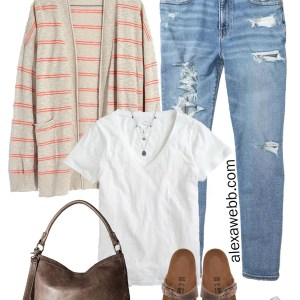 Plus Size Summer to Fall Cardigan Outfit Ideas with distressed Mom jeans, a white t-shirt, Birkenstock sandals, and stone jewelry - Alexa Webb #plussize #alexawebb