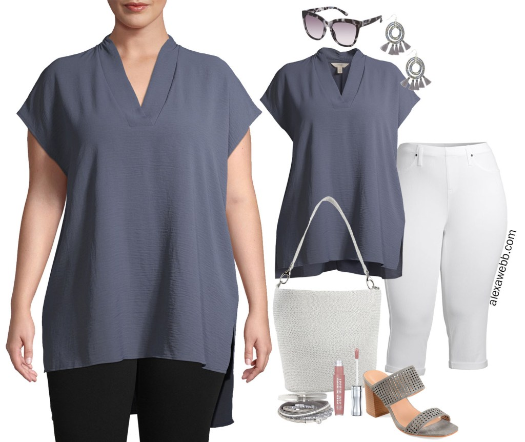 Plus Size Tunic Summer Outfit with Walmart - Plus Size White Cropped Jeans with Grey Tunic, Statement Earrings, and Grey Mule Sandals - Alexa Webb #plussize #alexawebb