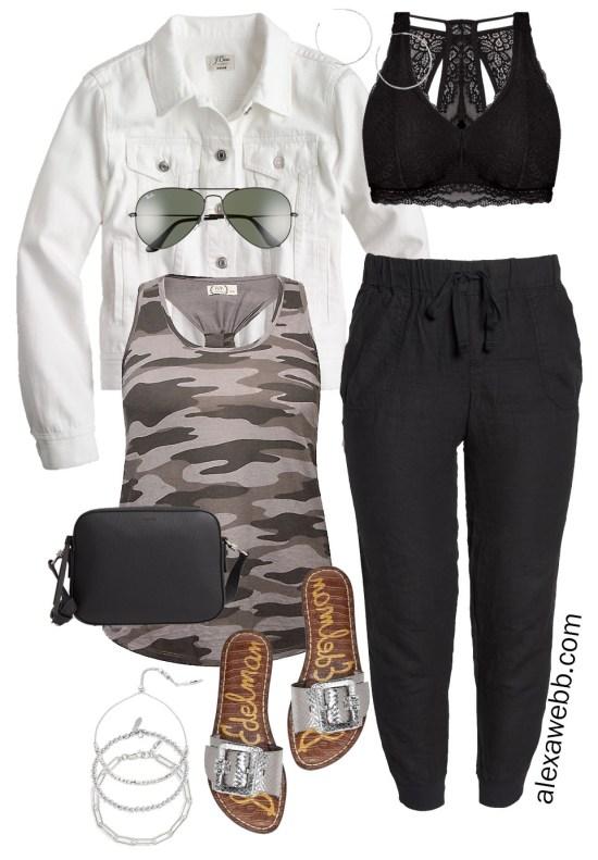 Plus Size Black Linen Joggers Outfit - Plus Size Fashion for Women - White Denim Jacket, Camo Tank, Lace Bralette, and Silver Sandals - Alexa Webb #plussize #alexawebb