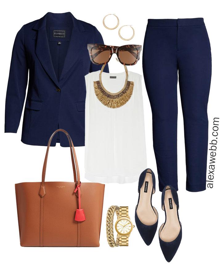 Plus Size Fall Work Capsule Wardrobe - Plus Size Workwear for Fall with Navy Suit - Alexa Webb #plussize #alexawebb