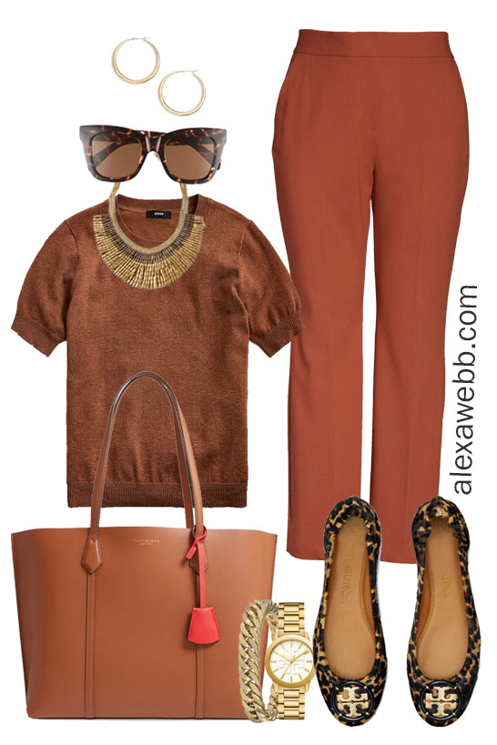 Plus Size Work Outfit with Rust Pants - Alexa Webb #alexawebb #plussize