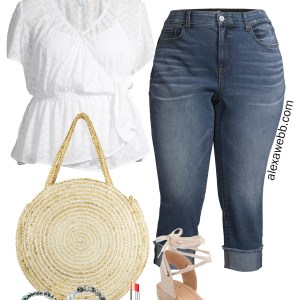 Plus Size White Eyelet Top Outfit with Cuffed Cropped Jeans, a Straw Circle Tote, and Coral Espadrille Sandals - Alexa Webb #alexawebb #plussize