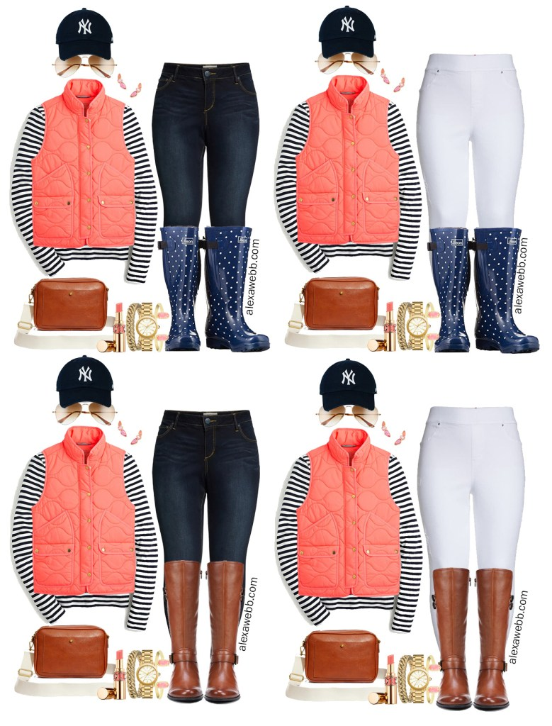 Plus Size Coral Vest Fall Outfit Ideas with Stripe Navy Tee, Skinny Jeans, and Wide Calf Boots - Alexa Webb #Plussize #Alexawebb