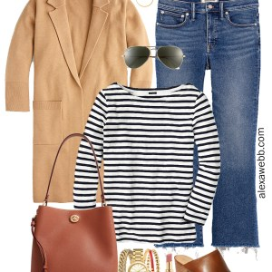 Plus Size Sweater Blazer Outfit with Stripe T-Shirt, Madewell Jeans, and Mules - Alexa Webb #plussize #alexawebb
