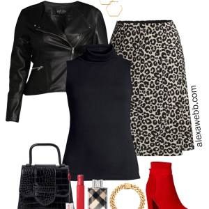 Plus Size Leopard Skirt Outfit with Walmart - Faux Leather Biker Jacket, Sleeveless Turtleneck, and Red Ankle Booties - Alexa Webb #plussize #alexawebb