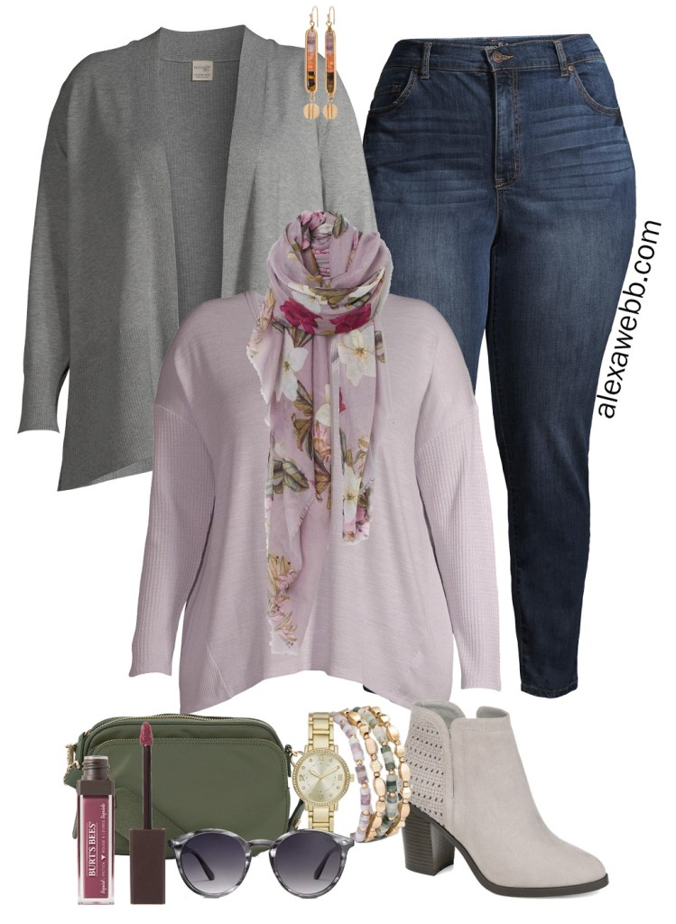 Plus Size Work-from-Home Outfit with Zoom appropriate scarf. t-shirt, and cardigan. Plus, jeans and booties for running errands. Alexa Webb #plussize #alexawebb