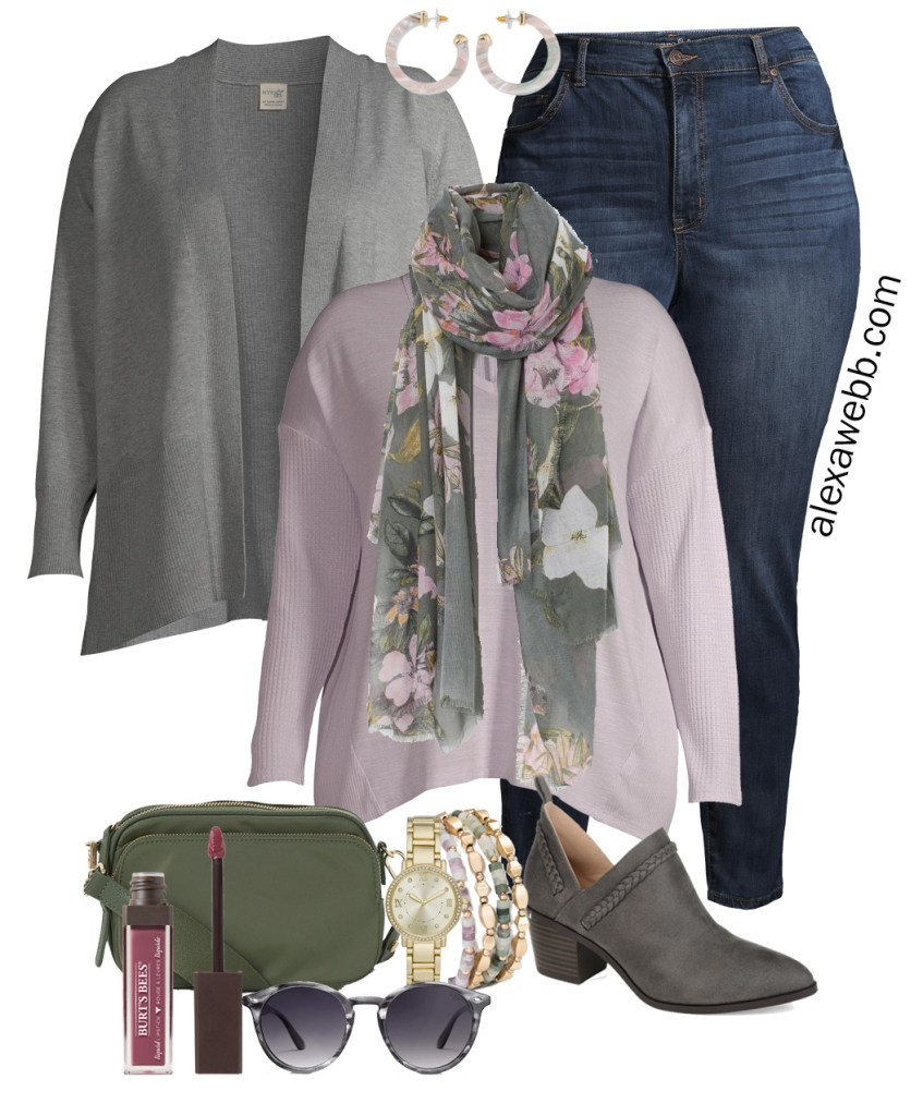 Plus Size Work-from-Home Outfit with Zoom appropriate scarf, lavender top, and cardigan. Plus, jeans and booties for running errands. Alexa Webb #plussize #alexawebb