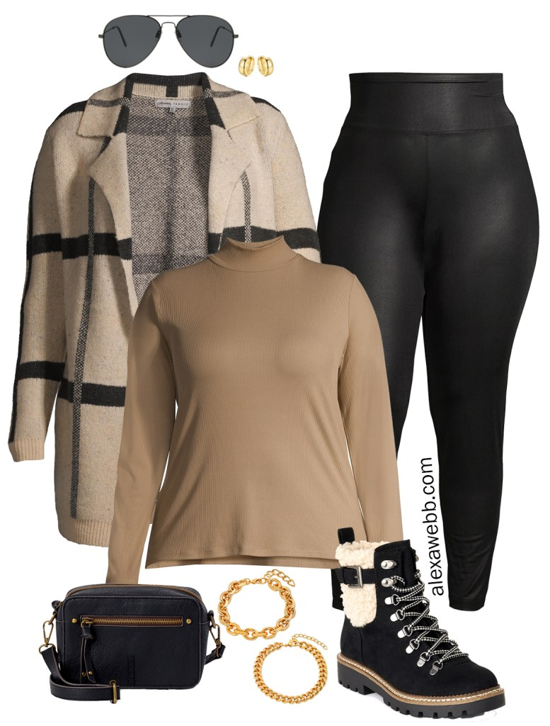 Plus Size Faux Leather Leggings Outfit Ideas with Walmart - Cardigan and Hiker Booties - Alexa Webb #plussize #alexawebb