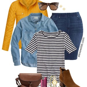 Plus Size Preppy Fall Layers Outfit with a Denim Skirt, Ankle Booties, Stiped T-Shirt, Denim Shirt, and Yellow Quilted Jacket - Alexa Webb #plussize #alexawebb