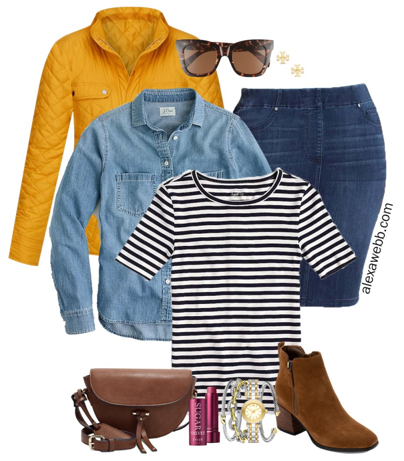 Plus Size Preppy Fall Layers Outfit with a Denim Skirt, Ankle Booties, Striped T-Shirt, Denim Shirt, and Yellow Quilted Jacket - Alexa Webb #plussize #alexawebb