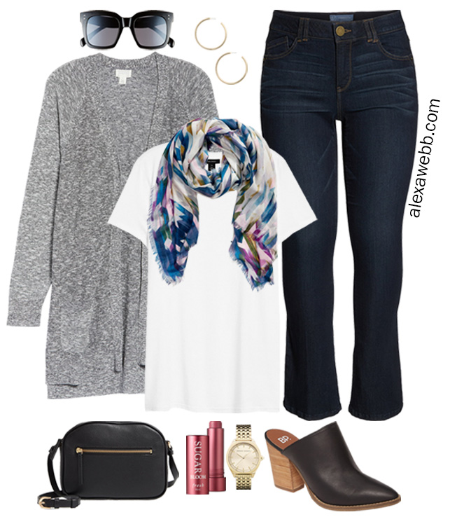 Plus Size Fall Outfits with Scarves from Nordstrom - Jeans and Cardigan with Mules and Crossbody Bag - Alexa Webb #plussize #alexawebb