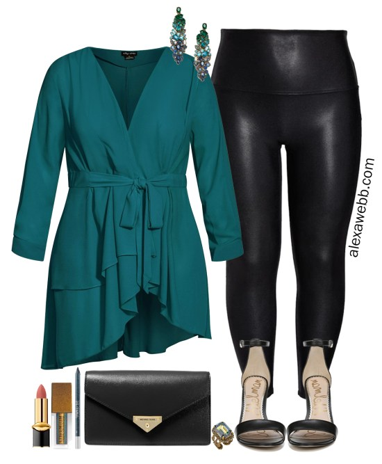 More Plus Size Faux Leather Leggings Outfits for a Night Out or Holilday Party with Teal Wrap Tunic, Ombre gem earrings, black clutch and stiletto sandals - Alexa Webb