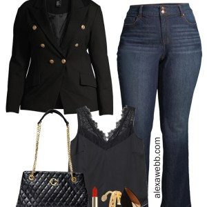 Plus Size on a Budget - Black Blazer with jeans. Night out outfit - Alexa Webb #plussize #alexawebb