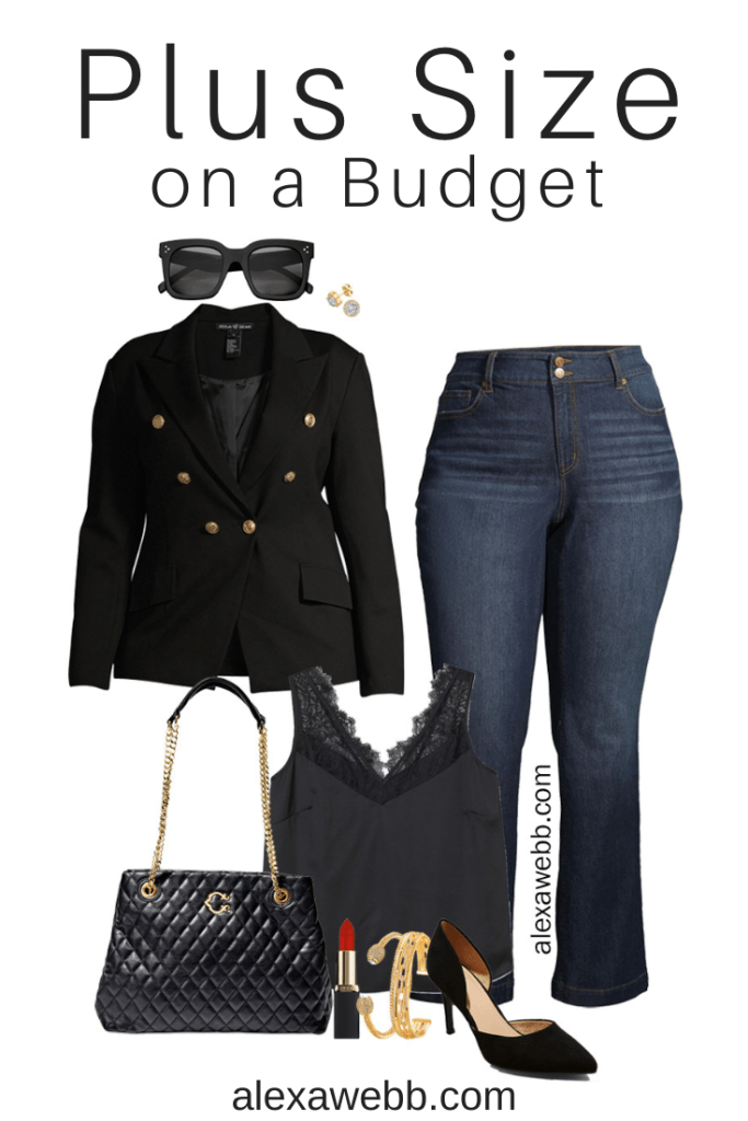 Plus Size on a Budget – Black Blazer double breasted with bootcut jeans and pumps for a night out - Alexa Webb #plussize #alexawebb