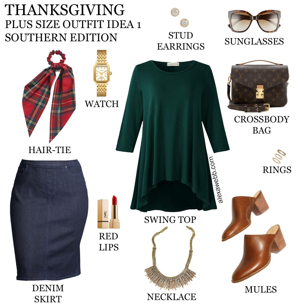 2020 Plus Size Thanksgiving Outfits – Outfit 1 Warm with Green Swing Top, Denim Skirt, Plaid Hair-Tie Scarf, Statement Necklace and Mules - Alexa Webb #plussize #alexawebb