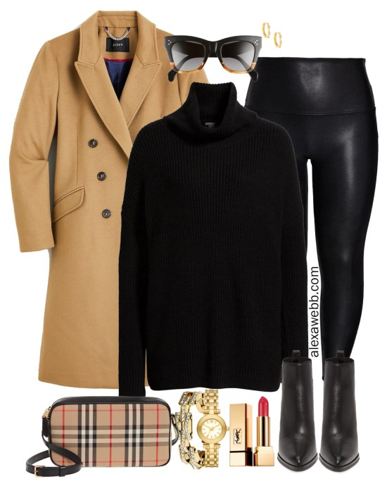 Plus Size Camel and Black Outfit with Camel Coat, Black Turtleneck, and Faux Leather Leggings - Alexa Webb #plussize #alexawebb