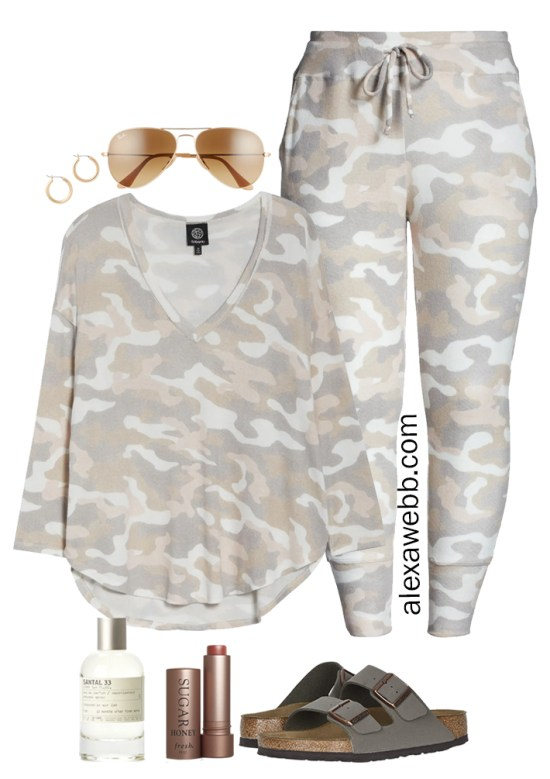 Plus Size Luxury Loungewear Outfit with Camo Top and Matching Camo Joggers with Birkenstock Sandals - Alexa Webb #plussize #alexawebb