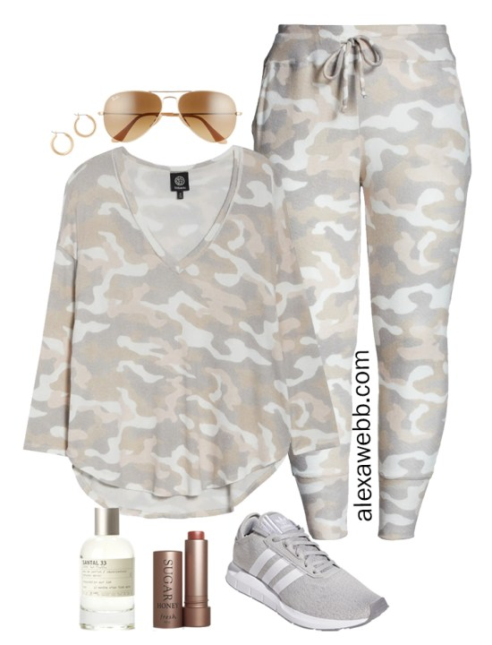 Plus Size Luxury Loungewear Outfit with Camo Top and Matching Camo Joggers with Sneakers - Alexa Webb #plussize #alexawebb