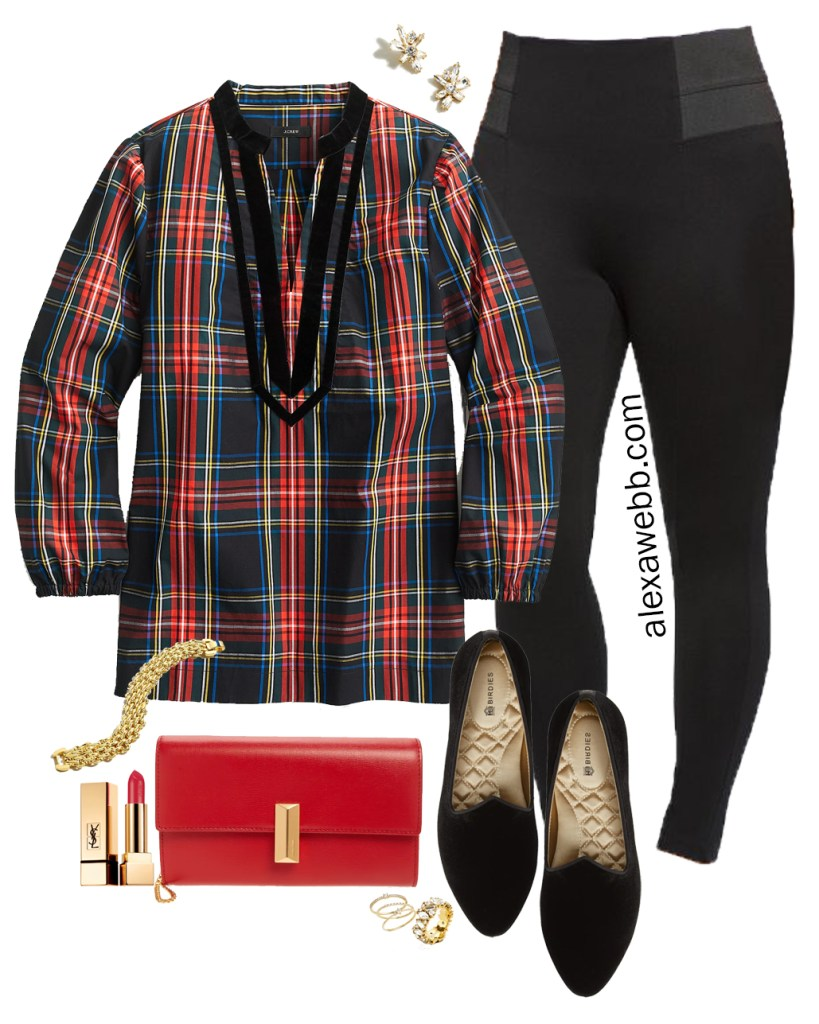Plus Size Plaid Tunic Outfit Idea with Tartan Tunic from JCrew, Black Leggings, Loafers, and a Red Clutch - Alexa Webb #plussize #preppy #plaid